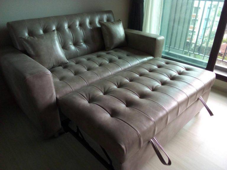 โซฟาสีเทา โซฟาเบด โซฟาปรับนอนหนังสีเทา โซฟาหนังเทียม sofabed