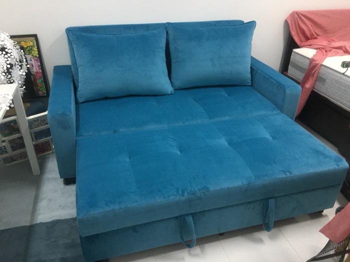 โซฟาเบด 5 ฟุต โซฟาเบดผ้า โซฟาปรับนอน โซฟาสวยๆ โซฟาสีฟ้า sofabed