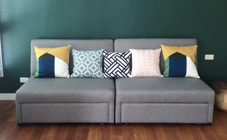 โซฟาผ้าสีเทา โซฟาเบด โซฟาปรับนอน โซฟาญี่ปุ่น โซฟาสวยๆ โซฟาผ้าสีสวย โซฟาปรับนอน