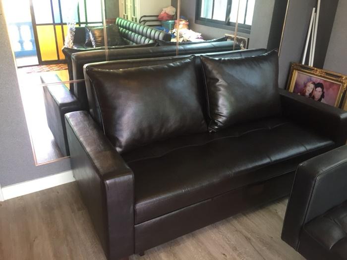 โซฟาเบด 5 ฟุต โซฟาเบดหนัง โซฟาปรับนอน โซฟาสวยๆ โซฟาหนังสีดำ sofabed