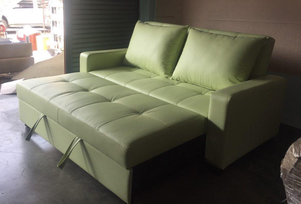 โซฟาเบด 5 ฟุต โซฟาเบดหนัง โซฟาปรับนอน โซฟาสวยๆ โซฟาสีเขียว sofabed